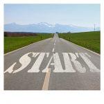 道路にはスタートの文字