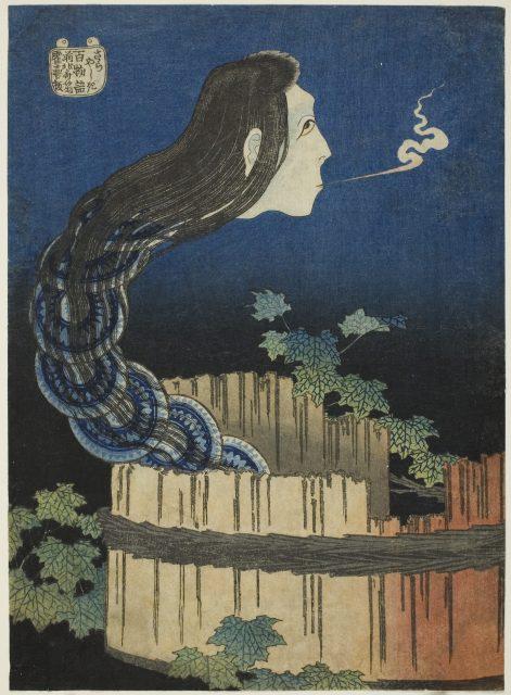 葛飾北斎「百物語 皿屋敷」1831/32 シカゴ美術館